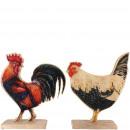groothandel Woondecoratie: Houten Kip Bakio, 2 motieven, L19cm, W7cm, H24cm,
